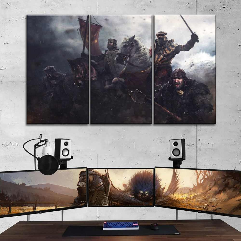 Top-Rated Canvas Print Armor Banner Horse Knight Painting One Set 3 Piece Modular Style Poster Modern Home Decorative Wall Art