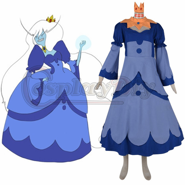Adventure time glace reine cosplay robe costume anime - Robe reine des glaces ...