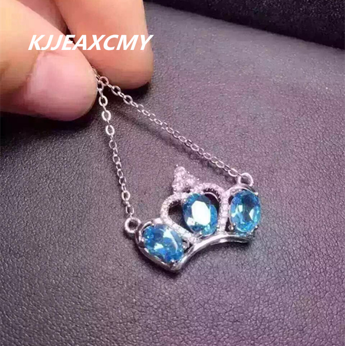 KJJEAXCMY boutique jewelry, 925 Sterling Silver Natural Crystal Topaz Blue Crystal Pendant Necklace Jewelry Chain female clavicl цены онлайн