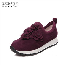 XIUNINGYAN34-40 Comfort Shoes Breathable Flower decoration 2018 Personality Sheep Suede Women Casual Shoes Slip on Women's Flats
