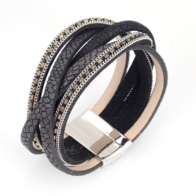 Newest wide magnetic bracelet with braided PU leather and metal chains magnetic bracelets for women gifts