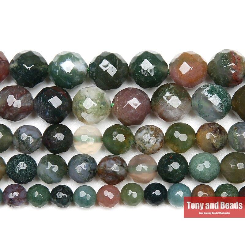 Freies Verschiffen Natürliche Stein Faceted Indische Achate Runde Lose Perlen 15