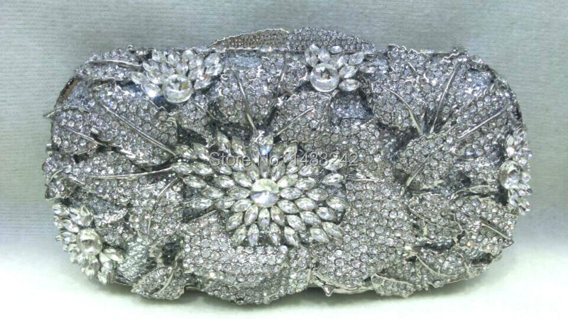 ФОТО Free shipping !! A15-64,silver color fashion top crystal stones ring clutches bags for ladies nice party bag