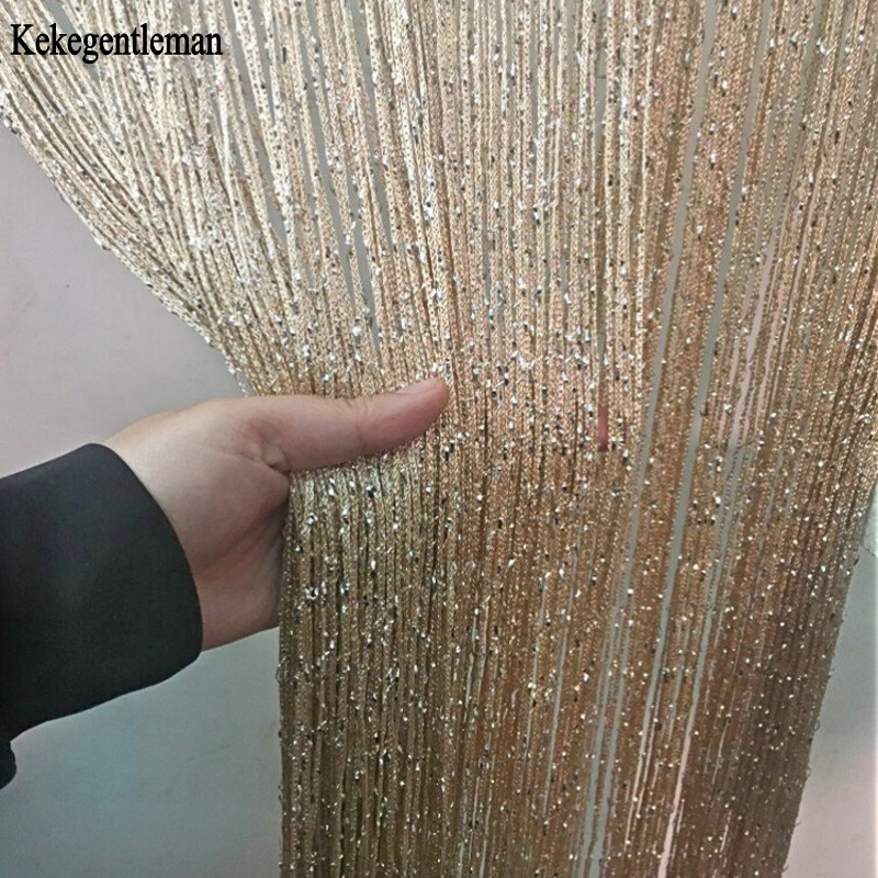 3x2.6m String Curtain Shiny Tassel Line Curtains Window Door Divider Drape Living Room Decor Valance(China)