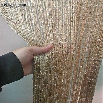 3×2.6m String Curtain Shiny Tassel Line Curtains Window Door Divider Drape Living Room Decor Valance
