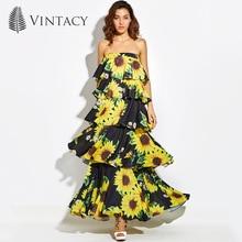 Фотография Vintacy Women Sexy Strapless Layered Dress Long Black Sunflower Floral Print Tiered Long Dress Female Summer Beach Maxi Sundress