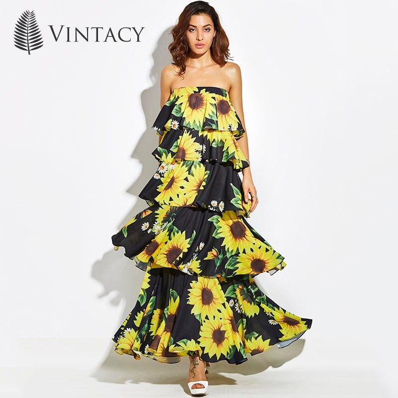 Vintacy Women Sexy Strapless Layered Dress Long Black Sunflower Floral Print Tiered Long Dress Female Summer Beach Maxi Sundress