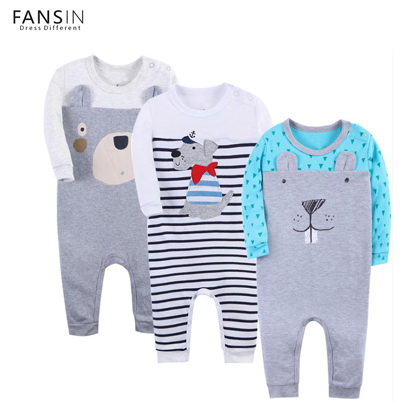 FANSIN Brand 2017 Baby Rompers 3Pcs/Set Long Sleeve Boys Girls Clothing Jumpsuits Autumn Children Newborn Baby Clothes Costume hhtu brand baby rompers boys girls clothing quilted long sleeve jumpsuits newborn clothes boneless sewing children cotton winter