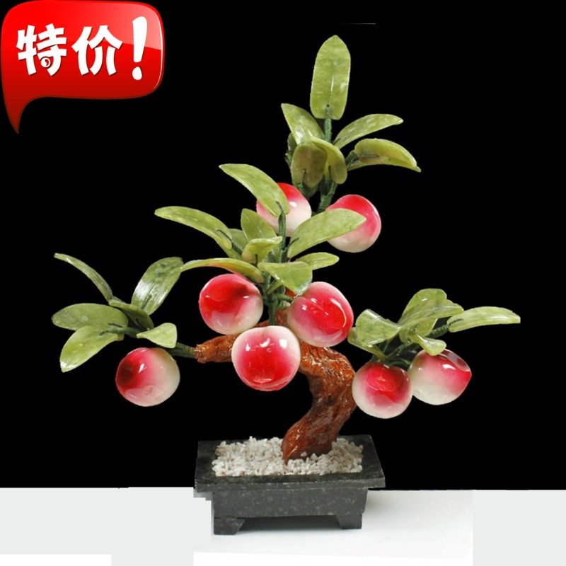 Small white jade jade ornaments 8 fairy peach tree jade plate king Home Furnishing simulation fruit creative arts and crafts jew yu shua ma zongyushua s hand on disc horsehair brushes jade peach wenwan clean plate keeps bodhi