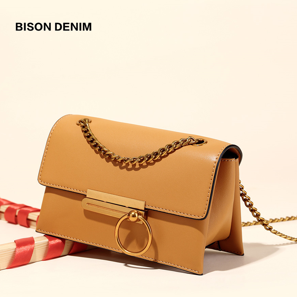 BISON DENIM brand fashion women shoulder bag Cow Leather ladies bag 2019 Satchel women messenger bags