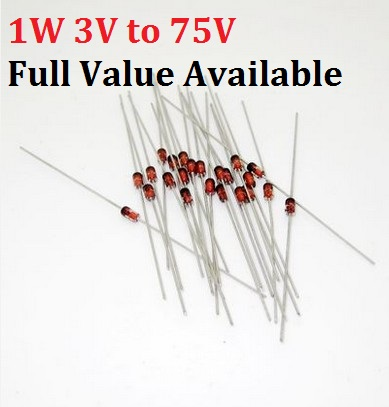 On Semiconductor ZENER DIODE DO-204AL 1N4758A Pack of 5 1W 56V