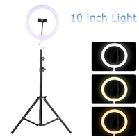 Tycipy LED Ring Light 10 Photography Dimmable Selfie Light With Tripod Stand Phone Holder For YouTube Video/Makeup/Live/Stream