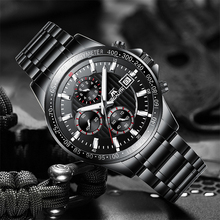 MEGALITH Fashion Business Quartz Watches Men Sports Analog Chronograph Full Steel Waterproof Watches Men Clock Relogio Masculino