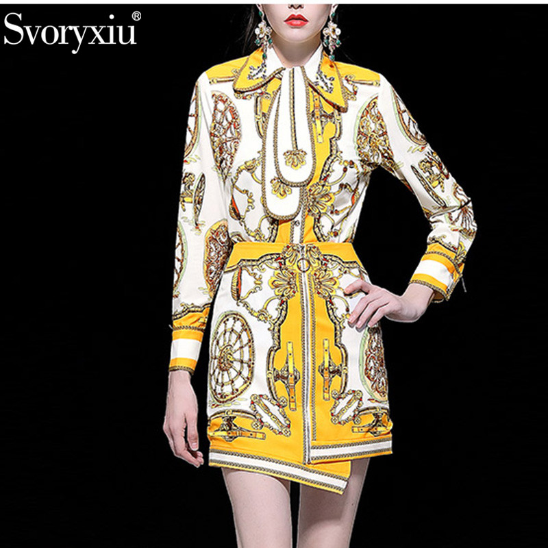 Svoryxiu Women's Spring Summer Runway Skirt Suit Female luxury Crystal Beading Vintage Gold Print Office Lady Two Piece Set