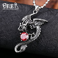 Beier Wholesale Stainless Steel Fly Dragon Necklace Pendant With Red Stone BP8-147