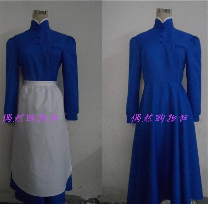 Ходячий замок Софи Шляпник платье Косплэй костюм синий длинное платье с фартуком Бесплатная доставка