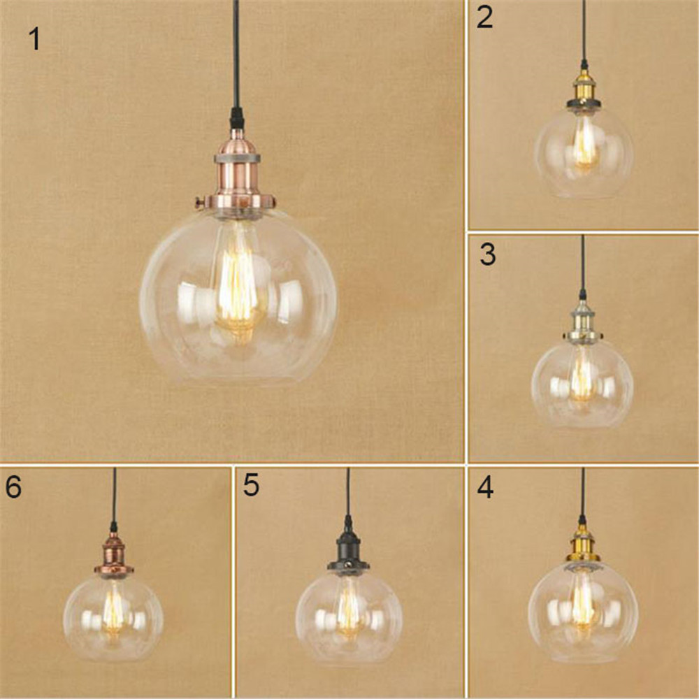 Modern E27 D20cm clear glass lampshade led pendant lamp vintage Edison bulb chrome bronze glass ball luminaire suspendu lampada