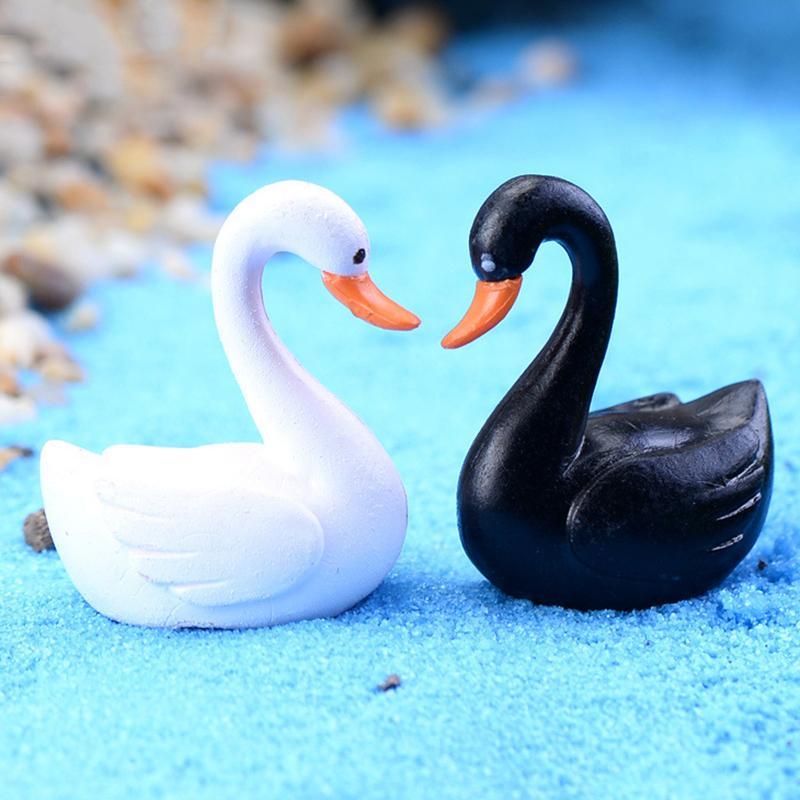 2Pcs Swan Garden Ornament Miniature Figurine Plant Pot Fairy Garden Decor White Black
