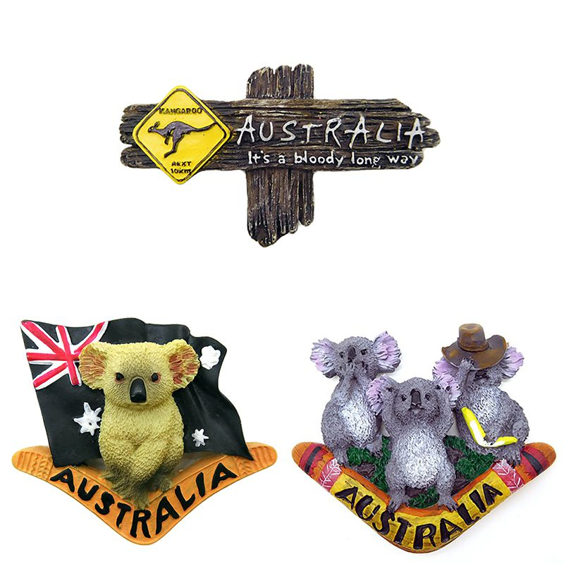 Bloody Long Way Australia Kangaroo resina recuerdo 3d imanes de nevera caliente