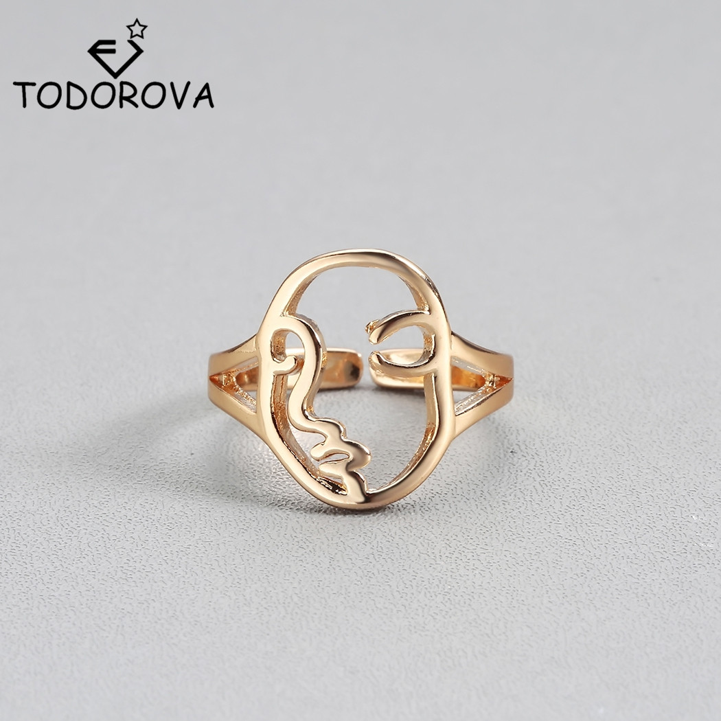 Todorova Vintage Human Face Ring for Boys Wedding Ring Engagement Ring Female Bague Femme Punk Rock Men Jewelry Кольцо