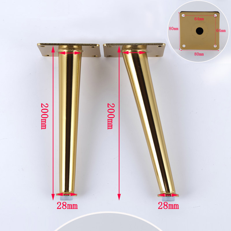 4Piece-80-x-200mm-Gold-Straight-cone-Furniture-Cabinet-Cupboard-Metal-Legs-Table-Load-2000-Lbs
