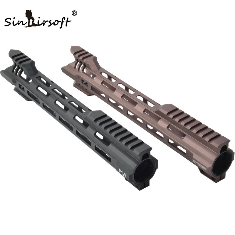 CNC Aluminum Lightweight 12 Inch One Piece Free Float Handguard Tactical Rail Forend w/ M-lok Hole Arrowed Assaut End BLK/CB AEG new lightweight cnc aluminum anodes m lok 13 5 inch handguard rail one picatinny rails system bk