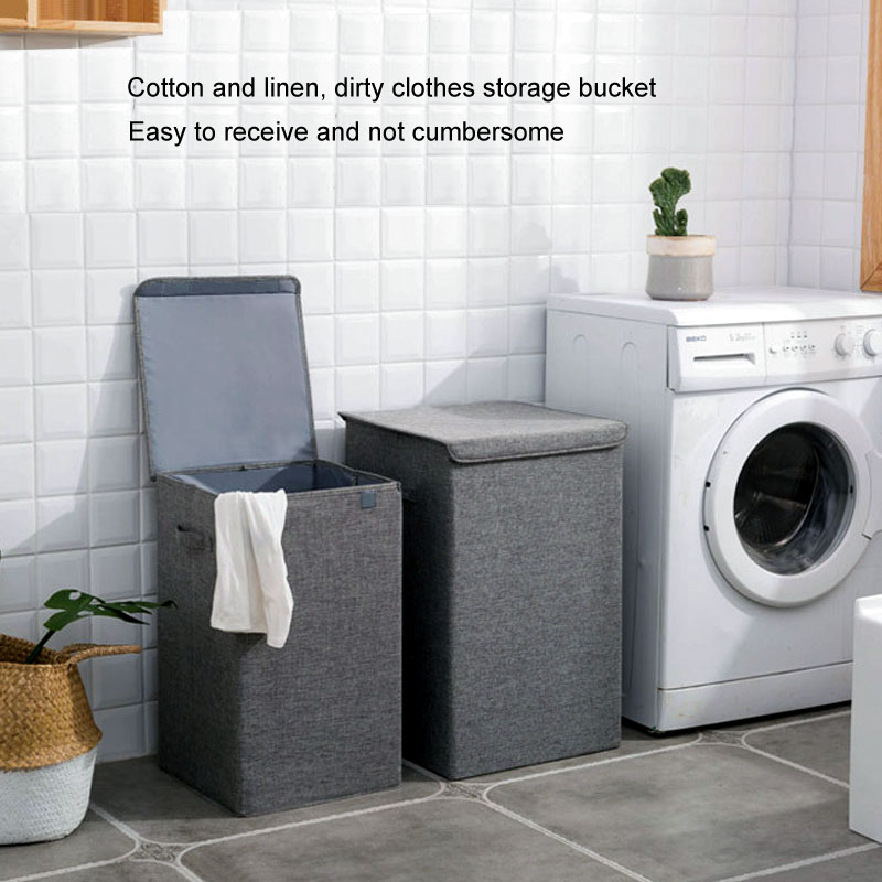 Складная Большая корзина для грязной одежды, корзины для ванной комнаты, хлопковые пеньковые Органайзер, домашнее водонепроницаемое ведро