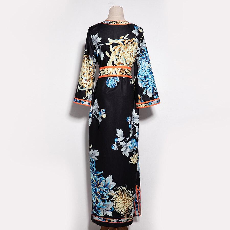 Robe Longue Manches Ceinture Aeleseen Plus Robes 3 De Automne Hiver Femmes 4 Fendue Vintage Mode Taille La Xxxl Nouvelles Élégante Imprimer 2018 UUqRr4