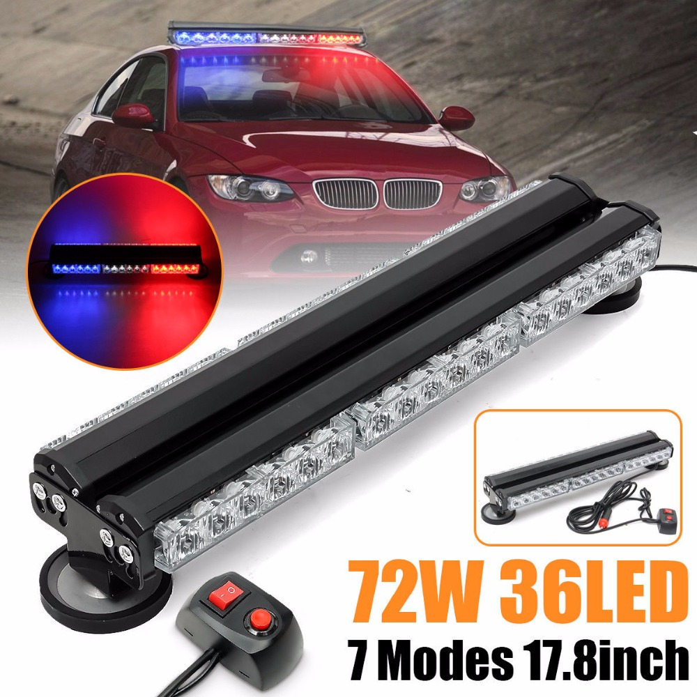 36 LED Work Light 72W Strobe Emergency Warning Bar Car Truck Flash Traffic Light Flashing Lamp Blue White Red car truck emergency super bright 86 led strobe visor white light lamp