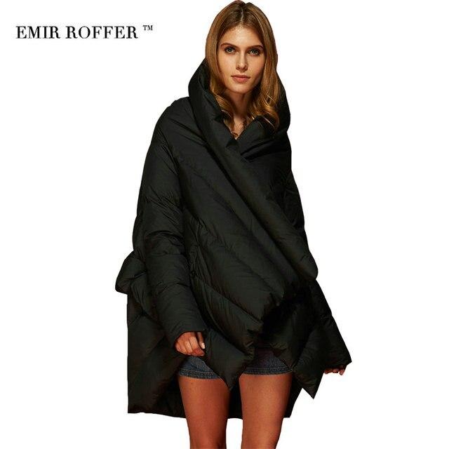 EMIR ROFFER 2017 Fashion Women's Down Jacket Parka Cloaks European Designer Asymmetric Length Hooded Anorak Winter Coat Female