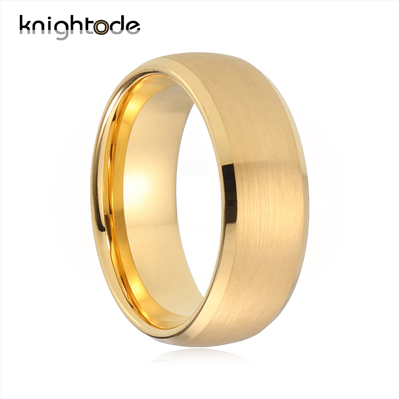 Knightode Tungsten Wedding Band Vintage Rings For Men Women Matted Brush Surface Dome Bevel Edges Polished Comfort Fit