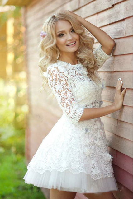 Custom Ivory Lace Prom Dresses High Collar Sleeve Mini Party Evening