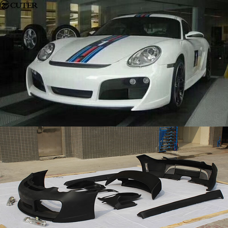 FRP Car body kit front bumper rear bumper side skirts rear spoiler for Porsche Cayman 987 T style 05 12