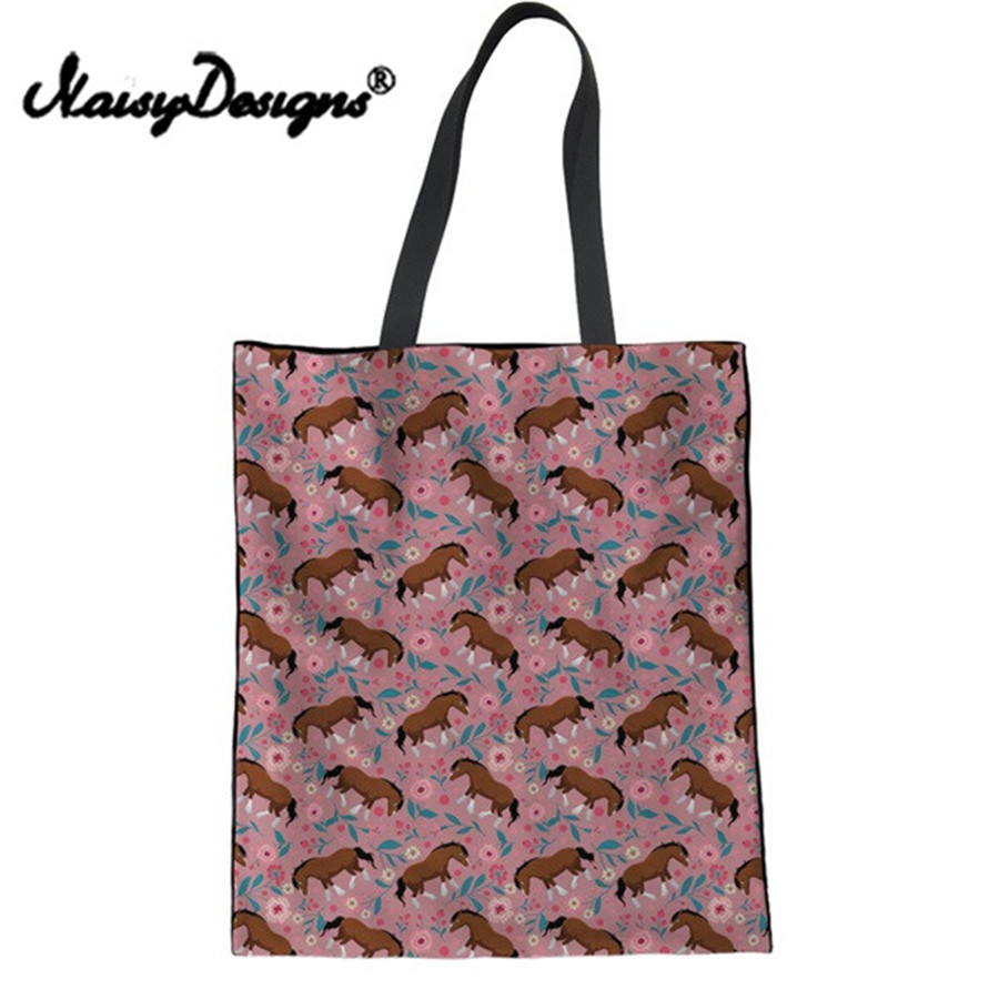 Noisydesigns Shopping Bag Handbags Horse Floral Pattern Canvas Casual Shoulder Bag Tote Bags For Girls Book Soft Totes Bag