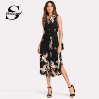 Sheinside Black Floral Animal Belted Dress Sleeveless Button Up Curved Hem Dress 2018 Summer Women Beach