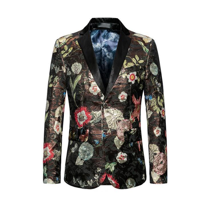 FOLOBE 2018 Mens Floral Blazer Flower Print Blazers For Men Large Size Slim Fit Blazer Men Costume Homme Men Blazer Coat