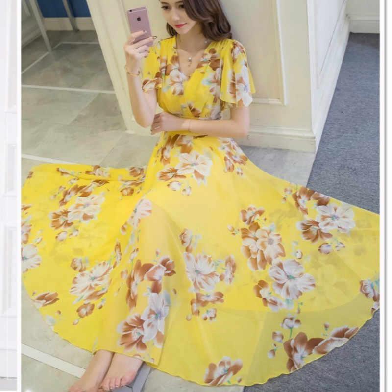 16a0b9990d576 Summer Maxi Dresses Womens 2019 Short Sleeve White Red Froral Bohemian Boho  Beach Chiffon Long Dress Plus Size 4XL 5XL Vestidos