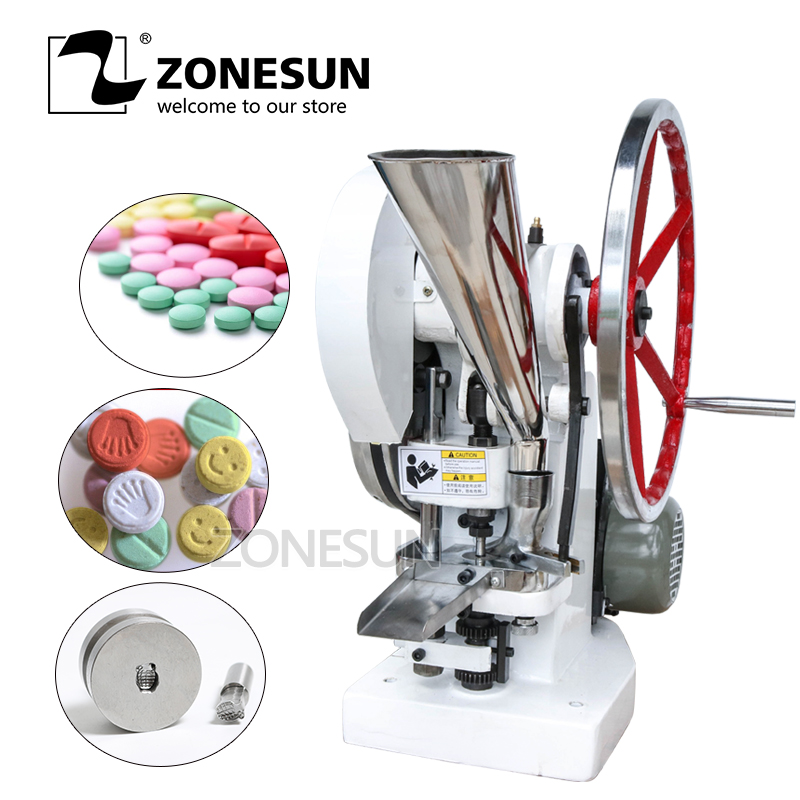 ZONESUN Single punch tablet press machine TDP5 Sugar press machine Candy making Milk TABLET PRESSING making zonesun manual single punch sugar tablet press machine sugar milk slice making tdp 0 hand operated mini type 20kg