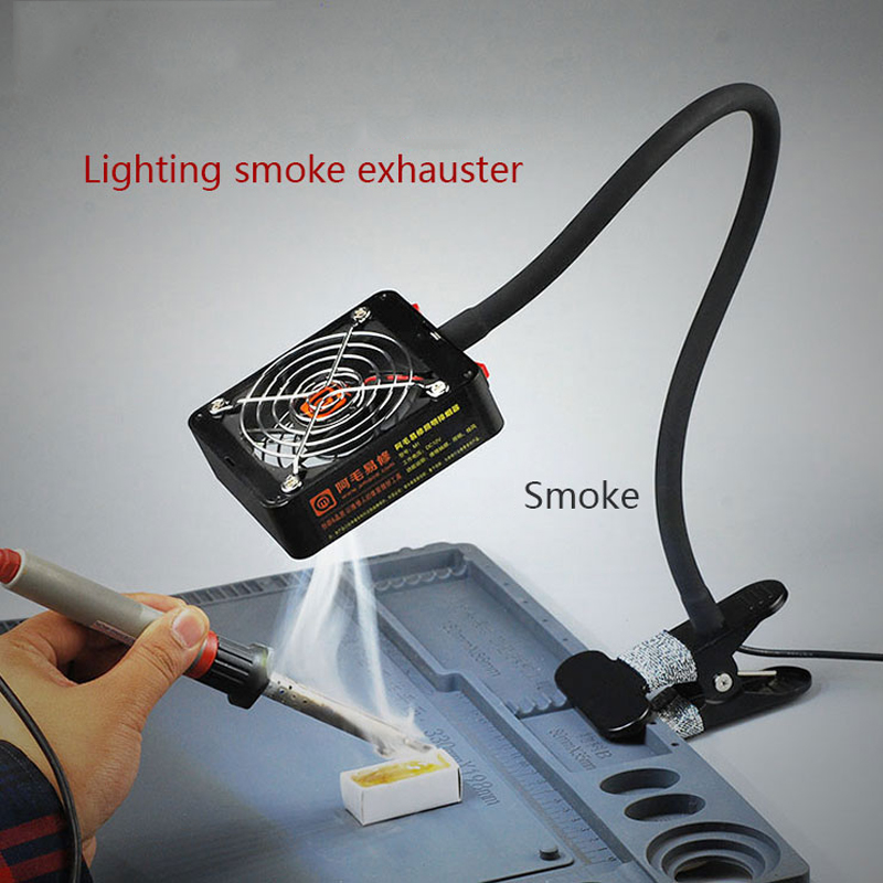 Mobile phone maintenance smoke lighting dual purpose smoke extractor, a clip type of smoking machine and alighting exhaust fan