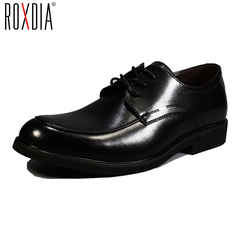 ROXDIA Genuine leather mens dress shoes formal business work male flats men's oxford shoes RXM063 size 39-44 top quality crocodile grain black oxfords mens dress shoes genuine leather business shoes mens formal wedding shoes