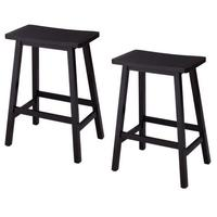 2 Pieces Pine Saddle Step Stool Black Suitable For Kitchen Family Bar Study High Stool