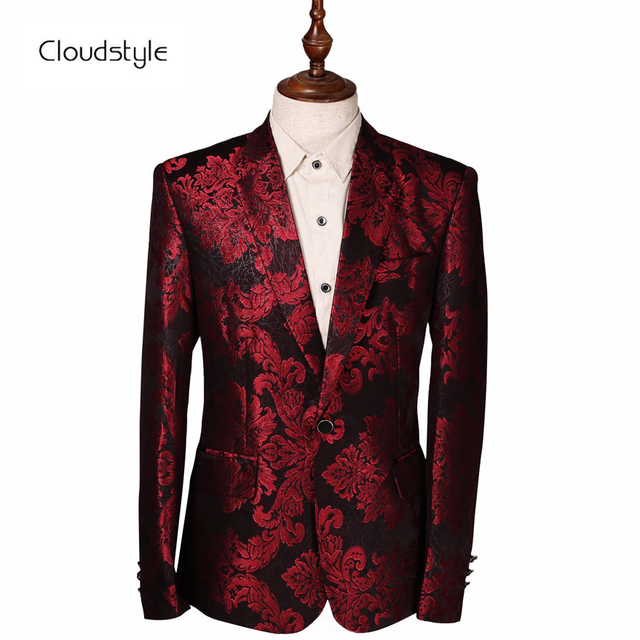 cb9a8583a82 Cloudstyle 2018 Costume Male Jacket Wine Red Flower Print Groomsmen Wedding  Blazers Evening Party Dress Suit Blazer Masculino