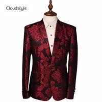 Cloudstyle 2018 Costume Male Jacket Wine Red Flower Print Groomsmen Wedding Blazers Evening Party Dress Suit Blazer Masculino