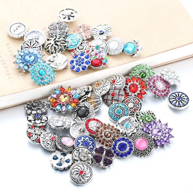 10pcs/lot Mixed Style 18mm Metal Snap Buttons Jewelry Random 50 Designs Ginger C