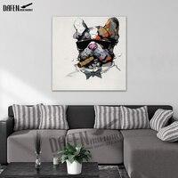 Bulldog pintado à mão Pintura A Óleo Moderna Da Arte Da Lona Pintura Home Imagem Decor para Sala Quarto Arte Da Parede Decoração Da Casa
