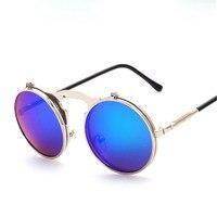 New 2018 QD1 QD17 Steam Punk Sunglasses Round Plain Mirror Metal Frames Sun Glasses Men Women