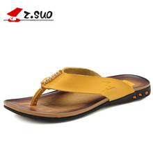 Z.SUO 2016 New Fashion High Quality Cow Split Leather Upper Rubber Outsole Men's Casual Sandals Hot Sale Male Flip Flops ZS918