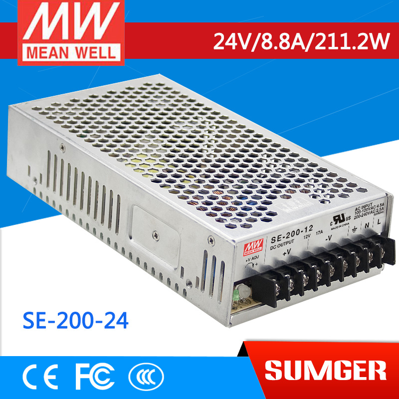 1MEAN WELL original SE-200-24 24V 8.8A meanwell SE-200 24V 211.2W Single Output Switching Power Supply