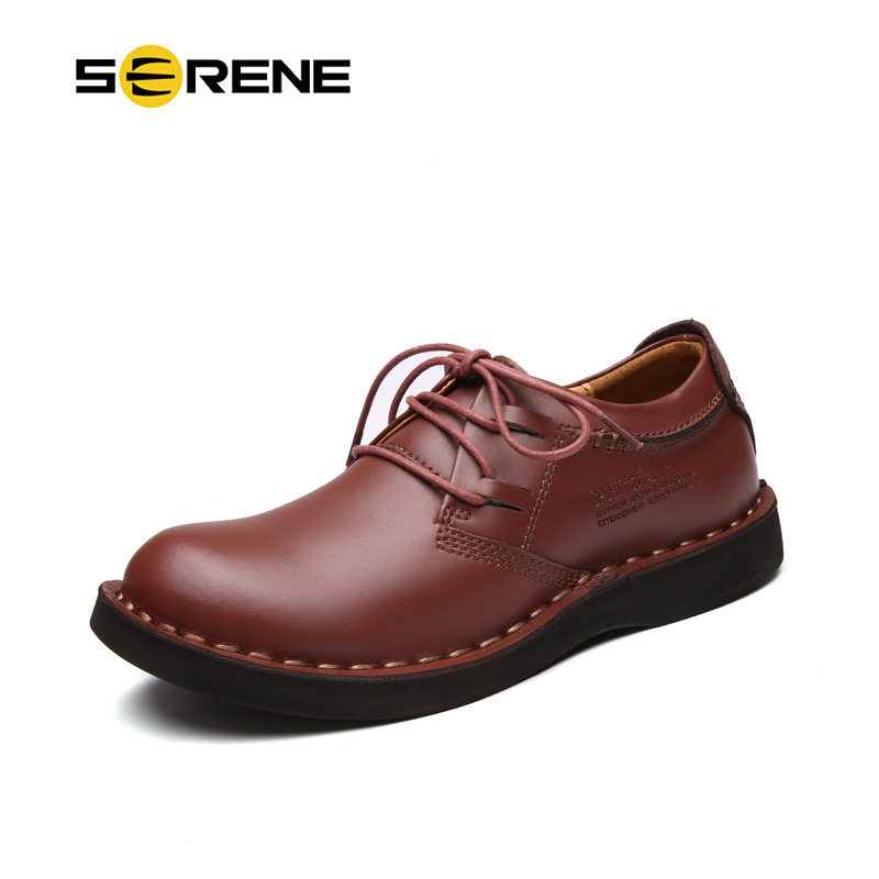 SERENE Brand 2018 Man Shoes Leather Tooling Shoes Size 38~44 Men Casual Shoes Lace-Up Boots Men Waterproof Shoes RL-7802 men s leather shoes vintage style casual shoes comfortable lace up flat shoes men footwears size 39 44 pa005m