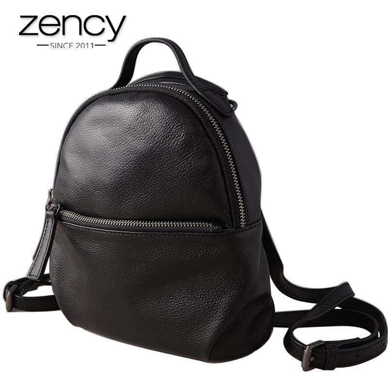 Zency 100% Real Cow Leather Fashion Women Backpack Black Small Travel Bags Daily Holiday Knapsack High Quality Girl's Schoolbag zency genuine leather women backpack fashion brand real cow skin backpacks young girl school bags knapsack rucksack